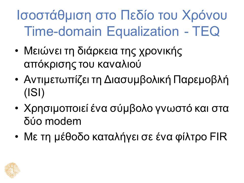Ισοστάθμιση στο Πεδίο του Χρόνου Time-domain Equalization - TEQ Μειώνει τη διάρκεια της χρονικής απόκρισης του καναλιού Αντιμετωπίζει τη Διασυμβολική Παρεμοβλή (ISI) Χρησιμοποιεί ένα σύμβολο γνωστό και στα δύο modem Με τη μέθοδο καταλήγει σε ένα φίλτρο FIR
