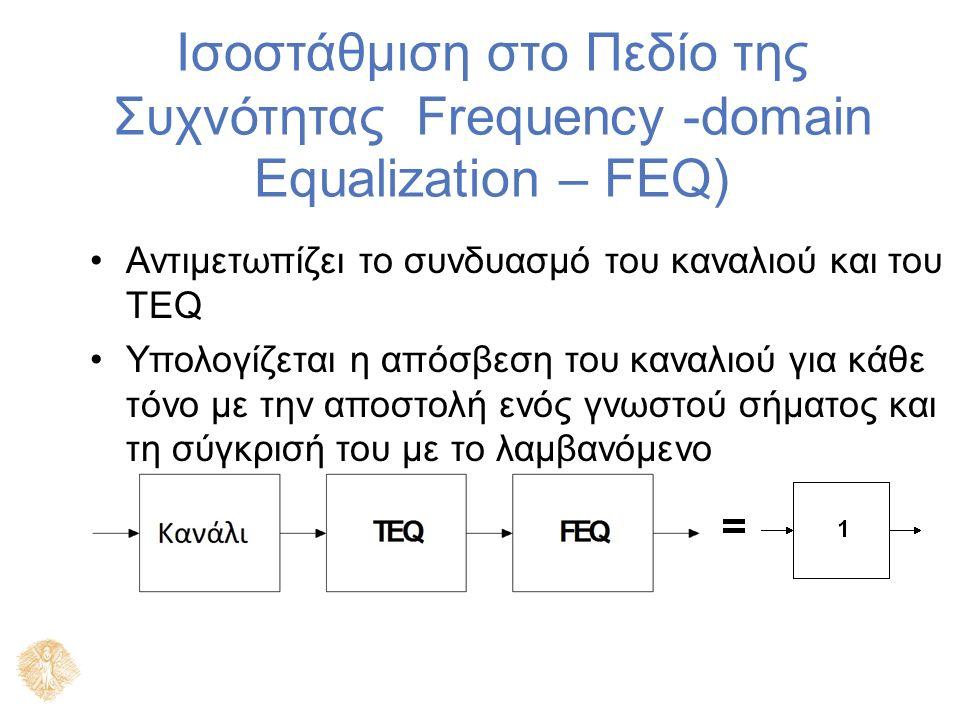 Ισοστάθμιση στο Πεδίο της Συχνότητας Frequency -domain Equalization – FEQ) Αντιμετωπίζει το συνδυασμό του καναλιού και του TEQ Υπολογίζεται η απόσβεση του καναλιού για κάθε τόνο με την αποστολή ενός γνωστού σήματος και τη σύγκρισή του με το λαμβανόμενο