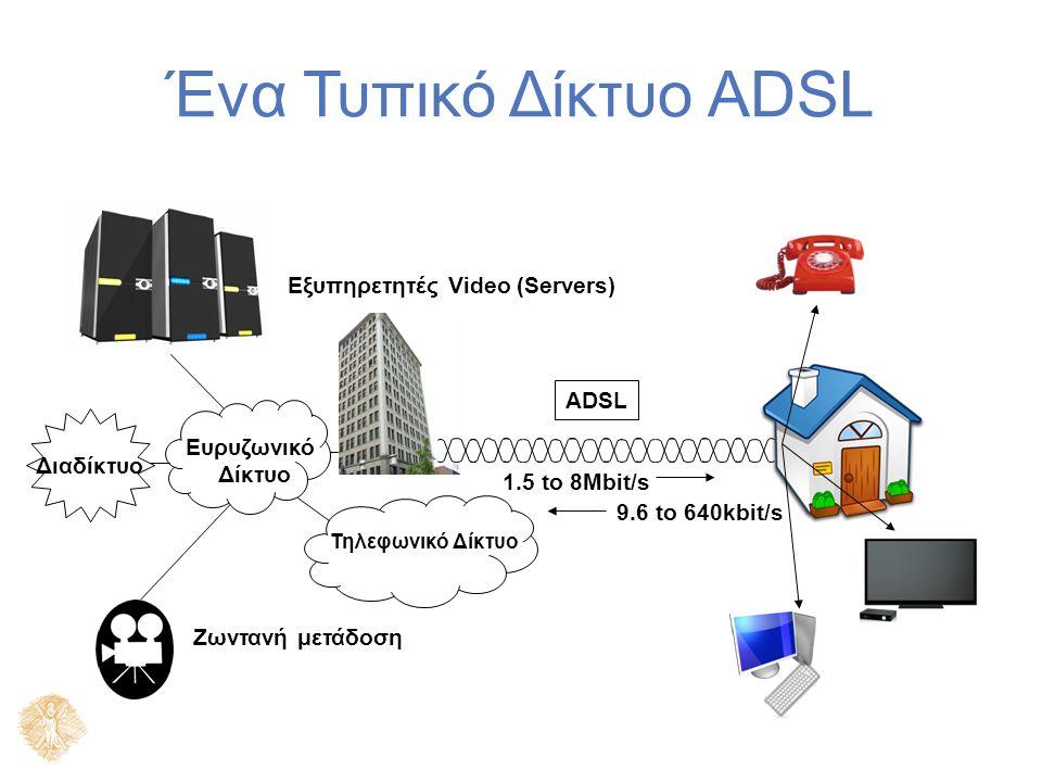 Βασικά Χαρακτηριστικά Ψηφιακή Συνδρομητική Γραμμή (Digital Subscriber Line) Η μετάδοση δεδομένων γίνεται με ψηφιακή κωδικοποίηση Χρησιμοποιεί την υφιστάμενη τηλεφωνική γραμμή του χρήστη Παρέχει μεγαλύτερη χωρητικότητα με τη χρήση ψηφιακών τεχνικών με παράλληλη χρήση της παραδοσιακής τηλεφωνικής υπηρεσίας με πολύπλεξη Παρέχει ασφάλεια Πάντοτε ενεργή, χωρίς αναγκαίες κλήσεις με αποκοπή και αναμονή.