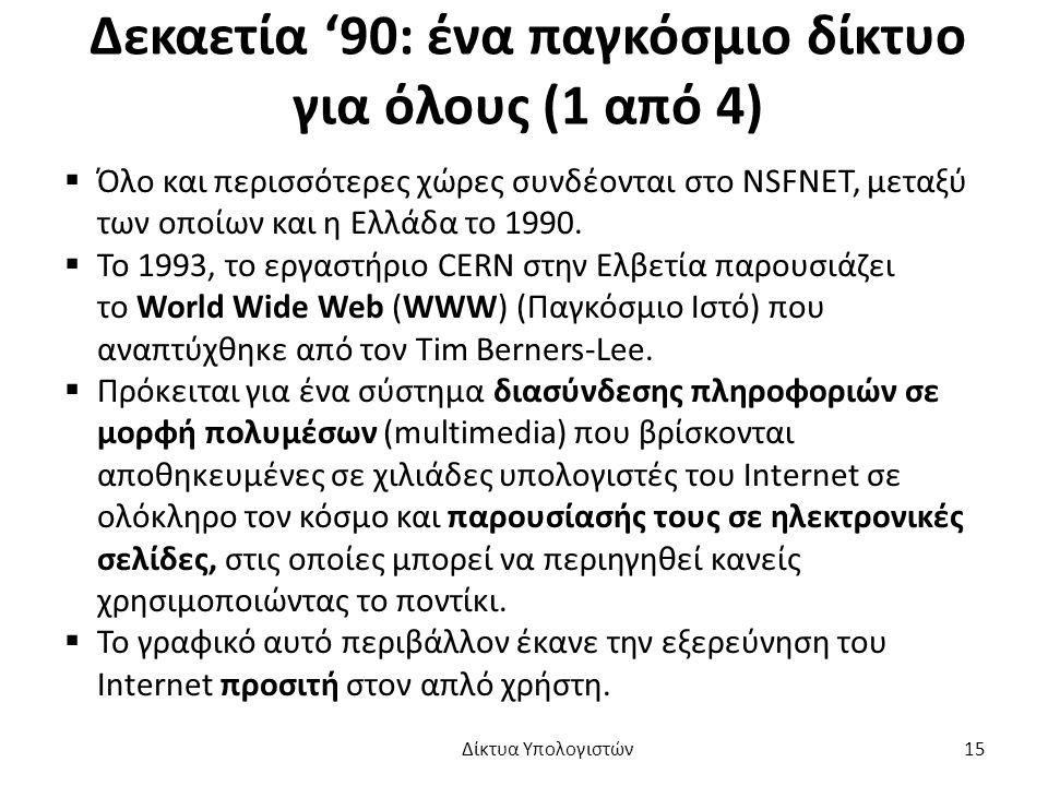 Δεκαετία '90: ένα παγκόσμιο δίκτυο για όλους (1 από 4)  Όλο και περισσότερες χώρες συνδέονται στο NSFNET, μεταξύ των οποίων και η Ελλάδα το 1990.