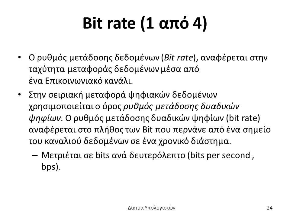 Bit rate (1 από 4) Ο ρυθμός μετάδοσης δεδομένων (Bit rate), αναφέρεται στην ταχύτητα μεταφοράς δεδομένων μέσα από ένα Επικοινωνιακό κανάλι.