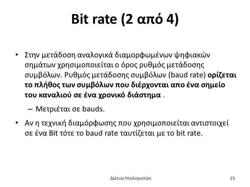 Bit rate (2 από 4) Στην μετάδοση αναλογικά διαμορφωμένων ψηφιακών σημάτων χρησιμοποιείται ο όρος ρυθμός μετάδοσης συμβόλων.