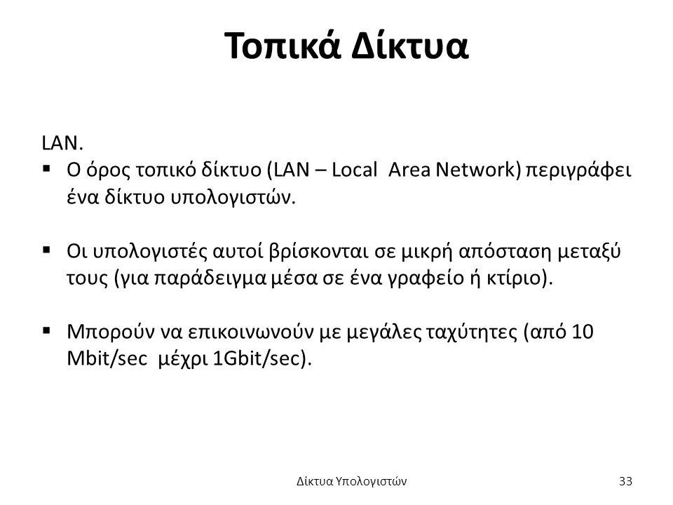 Τοπικά Δίκτυα LAN.