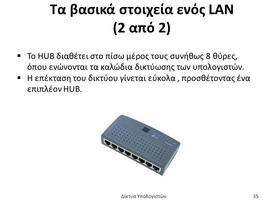 Τα βασικά στοιχεία ενός LAN (2 από 2)  Το HUB διαθέτει στο πίσω μέρος τους συνήθως 8 θύρες, όπου ενώνονται τα καλώδια δικτύωσης των υπολογιστών.