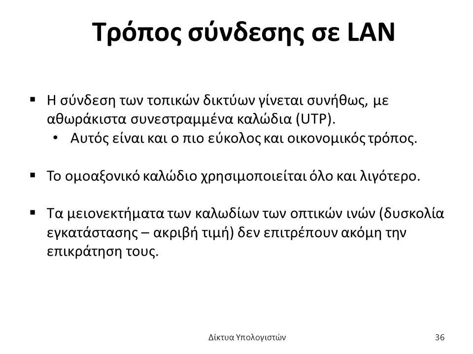 Τρόπος σύνδεσης σε LAN  Η σύνδεση των τοπικών δικτύων γίνεται συνήθως, με αθωράκιστα συνεστραμμένα καλώδια (UTP).