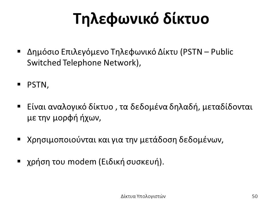 Τηλεφωνικό δίκτυο  Δημόσιο Επιλεγόμενο Τηλεφωνικό Δίκτυ (PSTN – Public Switched Telephone Network),  PSTN,  Είναι αναλογικό δίκτυο, τα δεδομένα δηλαδή, μεταδίδονται με την μορφή ήχων,  Χρησιμοποιούνται και για την μετάδοση δεδομένων,  χρήση του modem (Ειδική συσκευή).