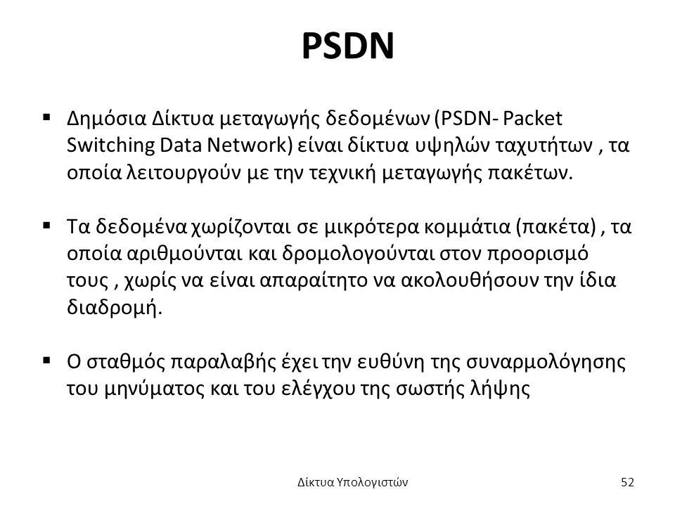PSDN  Δημόσια Δίκτυα μεταγωγής δεδομένων (PSDN- Packet Switching Data Network) είναι δίκτυα υψηλών ταχυτήτων, τα οποία λειτουργούν με την τεχνική μεταγωγής πακέτων.