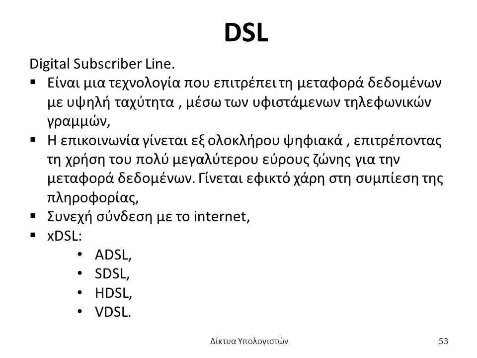 DSL Digital Subscriber Line.