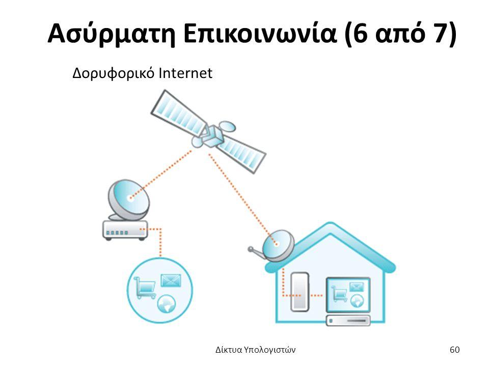 Ασύρματη Επικοινωνία (6 από 7) Δορυφορικό Internet Δίκτυα Υπολογιστών 60