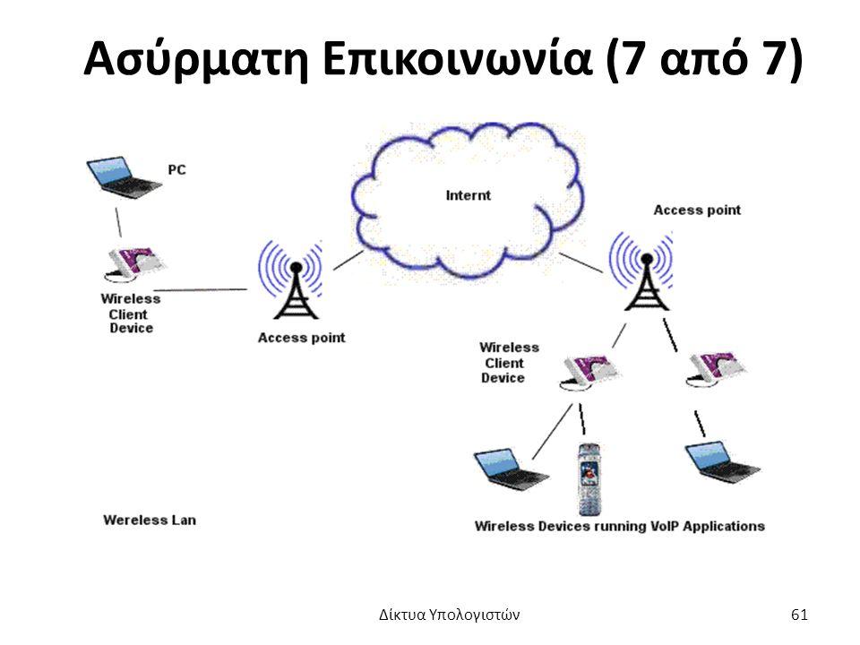 Ασύρματη Επικοινωνία (7 από 7) Δίκτυα Υπολογιστών 61