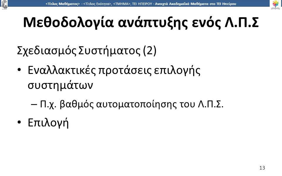 1313 -,, ΤΕΙ ΗΠΕΙΡΟΥ - Ανοιχτά Ακαδημαϊκά Μαθήματα στο ΤΕΙ Ηπείρου Μεθοδολογία ανάπτυξης ενός Λ.Π.Σ Σχεδιασμός Συστήματος (2) Εναλλακτικές προτάσεις ε