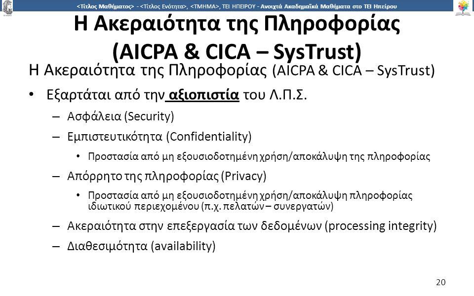 2020 -,, ΤΕΙ ΗΠΕΙΡΟΥ - Ανοιχτά Ακαδημαϊκά Μαθήματα στο ΤΕΙ Ηπείρου Η Ακεραιότητα της Πληροφορίας (AICPA & CICA – SysTrust) Εξαρτάται από την αξιοπιστί