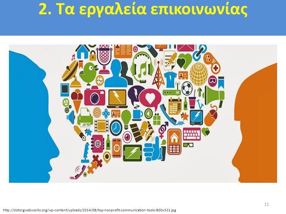 2. Τα εργαλεία επικοινωνίας 11 http://dotorgwebworks.org/wp-content/uploads/2014/08/top-nonprofit-communication-tools-800x321.jpg
