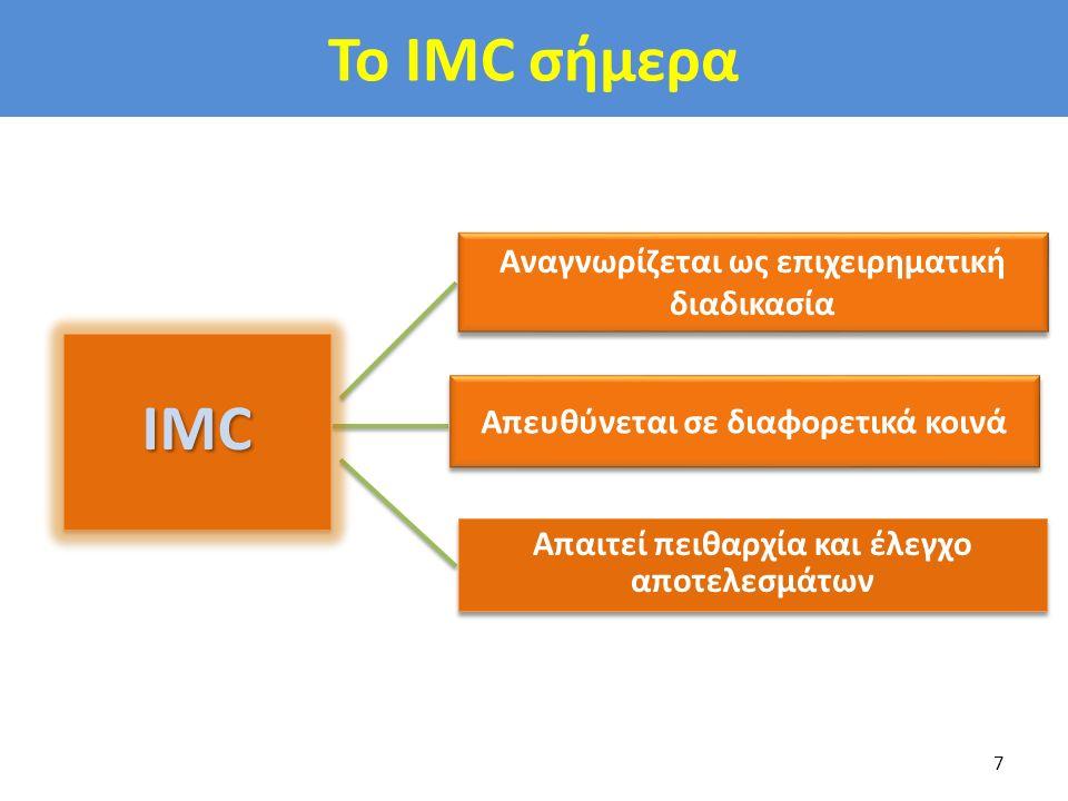 To IMC σήμερα 7 Απαιτεί πειθαρχία και έλεγχο αποτελεσμάτων Αναγνωρίζεται ως επιχειρηματική διαδικασία Απευθύνεται σε διαφορετικά κοινά IMCIMC