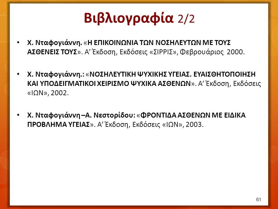 Βιβλιογραφία 2/2 Χ. Νταφογιάννη. «Η ΕΠΙΚΟΙΝΩΝΙΑ ΤΩΝ ΝΟΣΗΛΕΥΤΩΝ ΜΕ ΤΟΥΣ ΑΣΘΕΝΕΙΣ ΤΟΥΣ». Α' Έκδοση, Εκδόσεις «ΣΙΡΡΙΣ», Φεβρουάριος 2000. Χ. Νταφογιάννη.