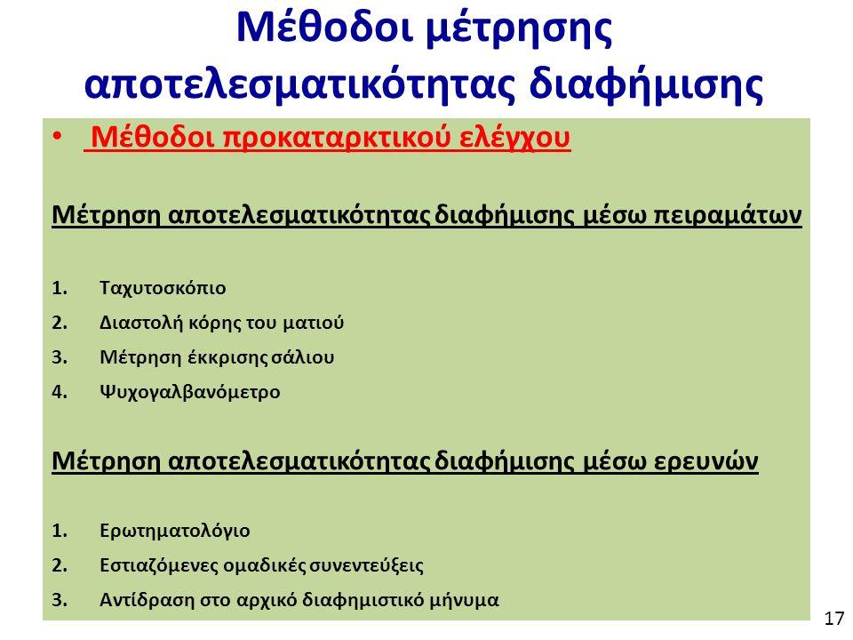 Μέθοδοι μέτρησης αποτελεσματικότητας διαφήμισης Μέθοδοι προκαταρκτικού ελέγχου Μέτρηση αποτελεσματικότητας διαφήμισης μέσω πειραμάτων 1.Ταχυτοσκόπιο 2.Διαστολή κόρης του ματιού 3.Μέτρηση έκκρισης σάλιου 4.Ψυχογαλβανόμετρο Μέτρηση αποτελεσματικότητας διαφήμισης μέσω ερευνών 1.Ερωτηματολόγιο 2.Εστιαζόμενες ομαδικές συνεντεύξεις 3.Αντίδραση στο αρχικό διαφημιστικό μήνυμα 17