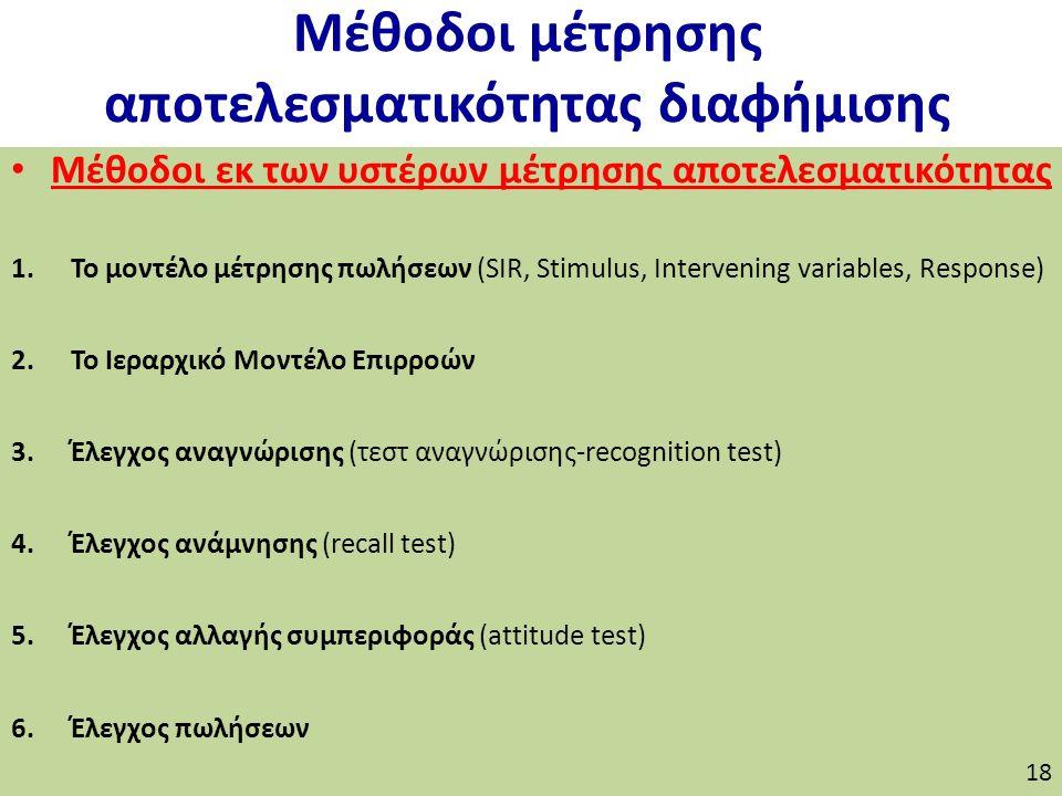 Μέθοδοι μέτρησης αποτελεσματικότητας διαφήμισης Μέθοδοι εκ των υστέρων μέτρησης αποτελεσματικότητας 1.Το μοντέλο μέτρησης πωλήσεων (SIR, Stimulus, Intervening variables, Response) 2.Το Ιεραρχικό Μοντέλο Επιρροών 3.Έλεγχος αναγνώρισης (τεστ αναγνώρισης-recognition test) 4.Έλεγχος ανάμνησης (recall test) 5.Έλεγχος αλλαγής συμπεριφοράς (attitude test) 6.Έλεγχος πωλήσεων 18