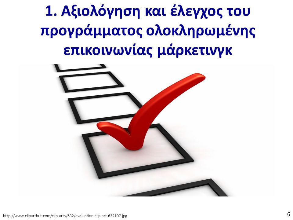 1. Αξιολόγηση και έλεγχος του προγράμματος ολοκληρωμένης επικοινωνίας μάρκετινγκ http://www.cliparthut.com/clip-arts/632/evaluation-clip-art-632107.jp