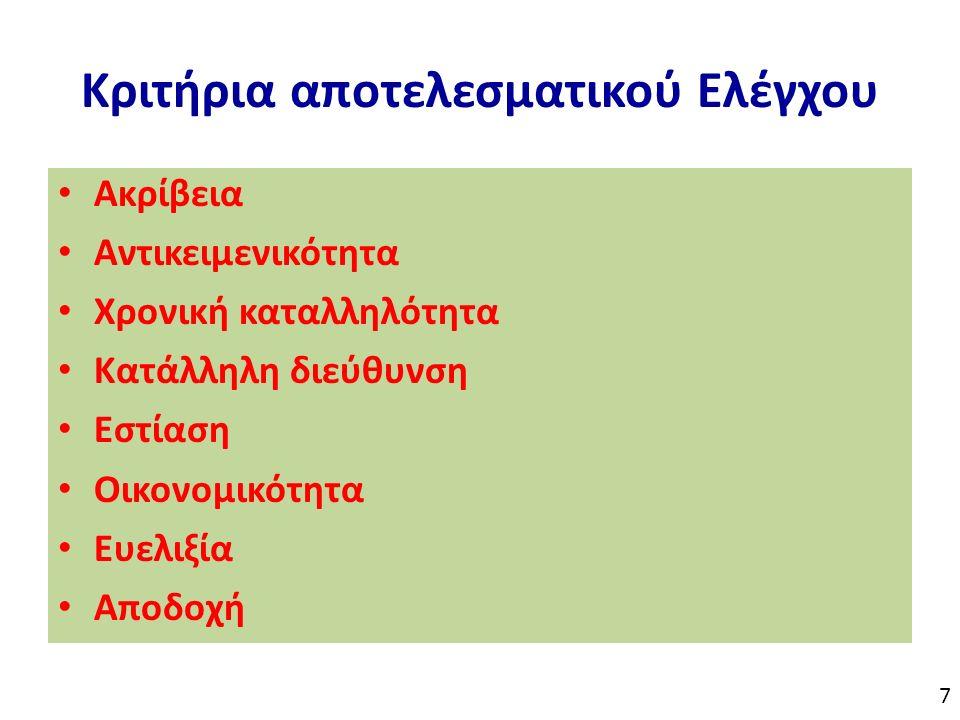 Κριτήρια αποτελεσματικού Ελέγχου Ακρίβεια Αντικειμενικότητα Χρονική καταλληλότητα Κατάλληλη διεύθυνση Εστίαση Οικονομικότητα Ευελιξία Αποδοχή 7