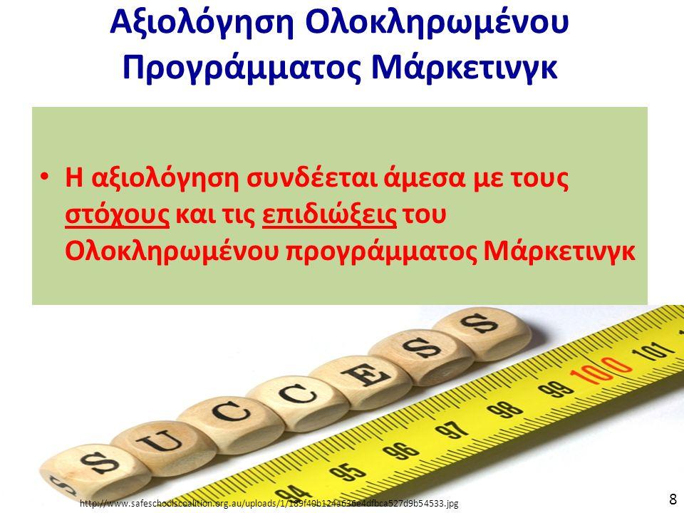 Αξιολόγηση Ολοκληρωμένου Προγράμματος Μάρκετινγκ Η αξιολόγηση συνδέεται άμεσα με τους στόχους και τις επιδιώξεις του Ολοκληρωμένου προγράμματος Μάρκετινγκ http://www.safeschoolscoalition.org.au/uploads/1/189f40b124a636e4dfbca527d9b54533.jpg 8