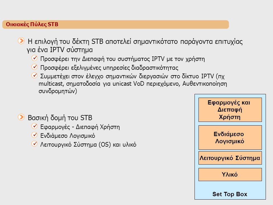 Οικιακές Πύλες STB H επιλογή του δέκτη STB αποτελεί σημαντικότατο παράγοντα επιτυχίας για ένα IPTV σύστημα Προσφέρει την Διεπαφή του συστήματος IPTV με τον χρήστη Προσφέρει εξελιγμένες υπηρεσίες διαδραστικότητας Συμμετέχει στον έλεγχο σημαντικών διεργασιών στο δίκτυο IPTV (πχ multicast, σηματοδοσία για unicast VoD περιεχόμενο, Αυθεντικοποίηση συνδρομητών) Βασική δομή του STB Εφαρμογές - Διεπαφή Χρήστη Ενδιάμεσο Λογισμικό Λειτουργικό Σύστημα (OS) και υλικό Εφαρμογές και Διεπαφή Χρήστη Ενδιάμεσο Λογισμικό Λειτουργικό Σύστημα Υλικό Set Top Box