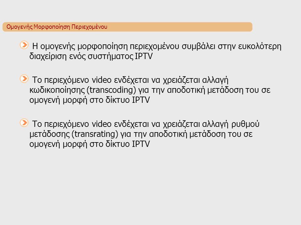 Ομογενής Μορφοποίηση Περιεχομένου Η ομογενής μορφοποίηση περιεχομένου συμβάλει στην ευκολότερη διαχείριση ενός συστήματος IPTV Το περιεχόμενο video ενδέχεται να χρειάζεται αλλαγή κωδικοποίησης (transcoding) για την αποδοτική μετάδοση του σε ομογενή μορφή στο δίκτυο IPTV Το περιεχόμενο video ενδέχεται να χρειάζεται αλλαγή ρυθμού μετάδοσης (transrating) για την αποδοτική μετάδοση του σε ομογενή μορφή στο δίκτυο IPTV