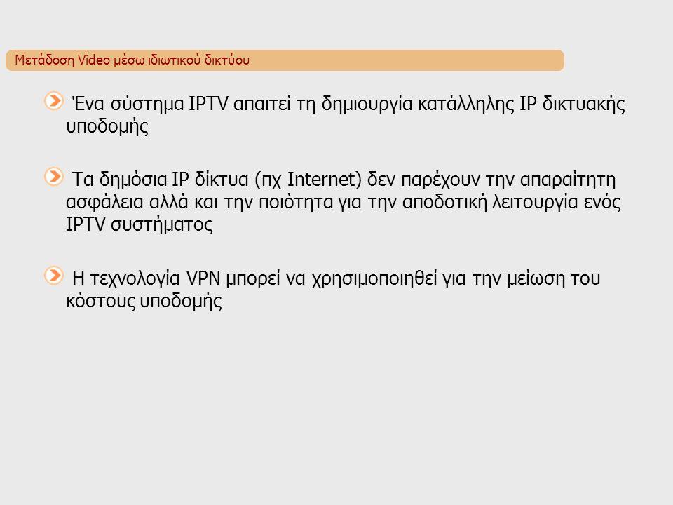 Μετάδοση Video μέσω ιδιωτικού δικτύου Ένα σύστημα IPTV απαιτεί τη δημιουργία κατάλληλης IP δικτυακής υποδομής Τα δημόσια IP δίκτυα (πχ Internet) δεν παρέχουν την απαραίτητη ασφάλεια αλλά και την ποιότητα για την αποδοτική λειτουργία ενός IPTV συστήματος Η τεχνολογία VPN μπορεί να χρησιμοποιηθεί για την μείωση του κόστους υποδομής