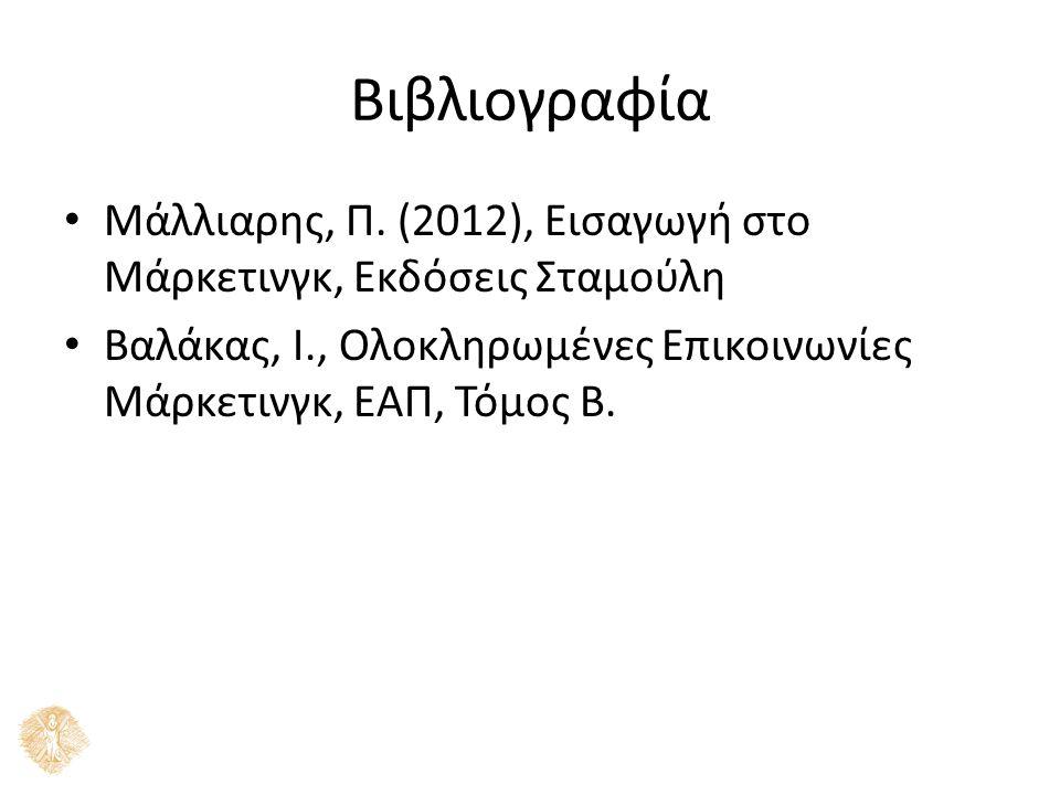 Βιβλιογραφία Μάλλιαρης, Π. (2012), Εισαγωγή στο Μάρκετινγκ, Εκδόσεις Σταμούλη Βαλάκας, Ι., Ολοκληρωμένες Επικοινωνίες Μάρκετινγκ, ΕΑΠ, Τόμος Β.