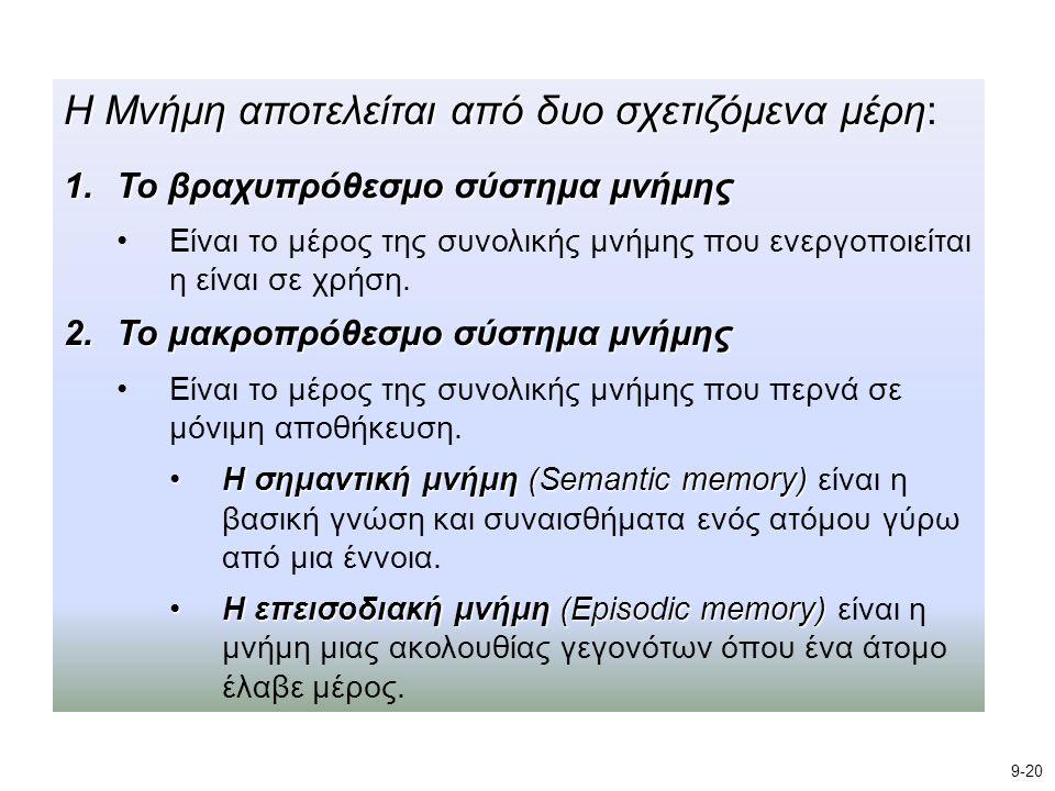 Η Μνήμη αποτελείται από δυο σχετιζόμενα μέρη Η Μνήμη αποτελείται από δυο σχετιζόμενα μέρη: 1.Το βραχυπρόθεσμο σύστημα μνήμης Είναι το μέρος της συνολι