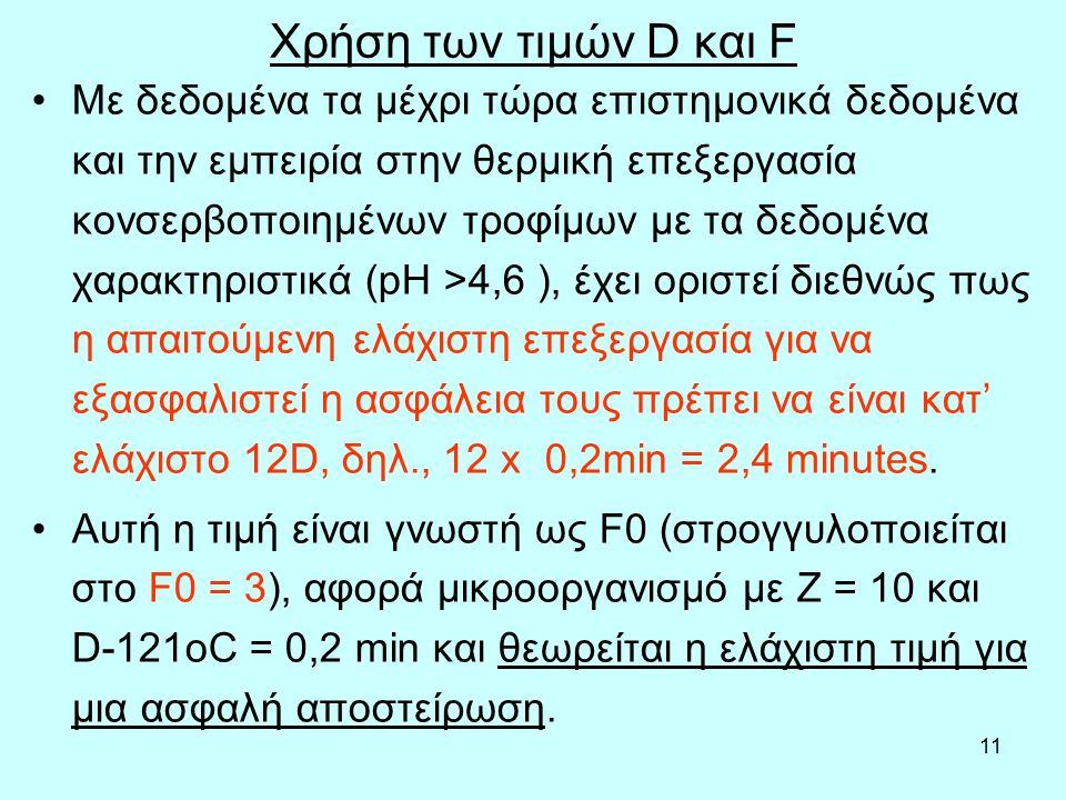 11 Χρήση των τιμών D και F Με δεδομένα τα μέχρι τώρα επιστημονικά δεδομένα και την εμπειρία στην θερμική επεξεργασία κονσερβοποιημένων τροφίμων με τα δεδομένα χαρακτηριστικά (pH >4,6 ), έχει οριστεί διεθνώς πως η απαιτούμενη ελάχιστη επεξεργασία για να εξασφαλιστεί η ασφάλεια τους πρέπει να είναι κατ' ελάχιστο 12D, δηλ., 12 x 0,2min = 2,4 minutes.