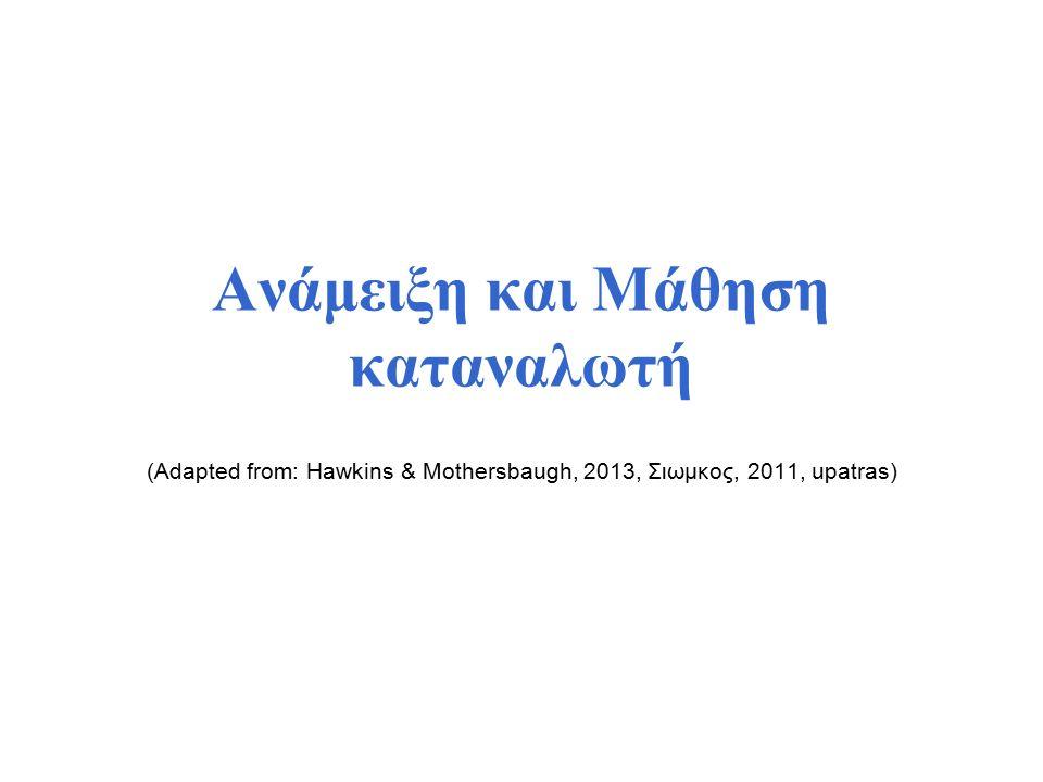 Ανάμειξη και Μάθηση καταναλωτή (Adapted from: Hawkins & Mothersbaugh, 2013, Σιωμκος, 2011, upatras)