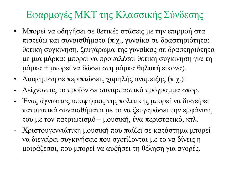 Εφαρμογές MKT της Κλασσικής Σύνδεσης Μπορεί να οδηγήσει σε θετικές στάσεις με την επιρροή στα πιστεύω και συναισθήματα (π.χ., γυναίκα σε δραστηριότητα: θετική συγκίνηση, ζευγάρωμα της γυναίκας σε δραστηριότητα με μια μάρκα: μπορεί να προκαλέσει θετική συγκίνηση για τη μάρκα + μπορεί να δώσει στη μάρκα θηλυκή εικόνα).