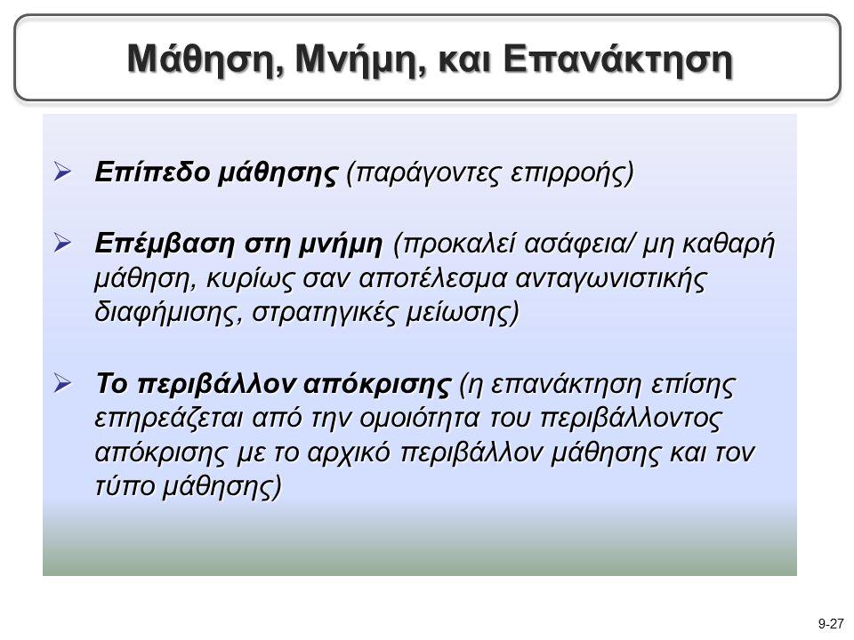  Επίπεδο μάθησης (παράγοντες επιρροής)  Επέμβαση στη μνήμη (προκαλεί ασάφεια/ μη καθαρή μάθηση, κυρίως σαν αποτέλεσμα ανταγωνιστικής διαφήμισης, στρατηγικές μείωσης)  Το περιβάλλον απόκρισης (η επανάκτηση επίσης επηρεάζεται από την ομοιότητα του περιβάλλοντος απόκρισης με το αρχικό περιβάλλον μάθησης και τον τύπο μάθησης) 9-27 Μάθηση, Μνήμη, και Επανάκτηση