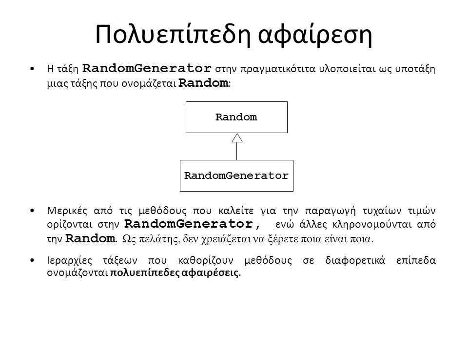 Πολυεπίπεδη αφαίρεση Η τάξη RandomGenerator στην πραγματικότιτα υλοποιείται ως υποτάξη μιας τάξης που ονομάζεται Random : Random RandomGenerator Μερικές από τις μεθόδους που καλείτε για την παραγωγή τυχαίων τιμών ορίζονται στην RandomGenerator, ενώ άλλες κληρονομούνται από την Random.