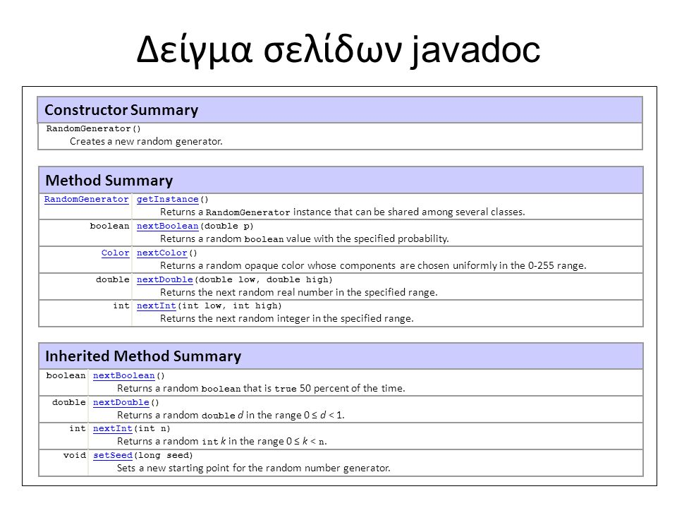 Δείγμα σελίδων javadoc Constructor Summary Method Summary RandomGeneratorgetInstance() Returns a RandomGenerator instance that can be shared among sev