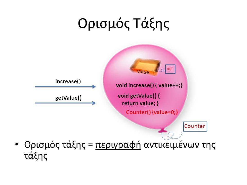 Ορισμός Τάξης Ορισμός τάξης = περιγραφή αντικειμένων της τάξης Counter value int increase() getValue() void increase() { value++;} void getValue() { return value; } Counter() {value=0;}
