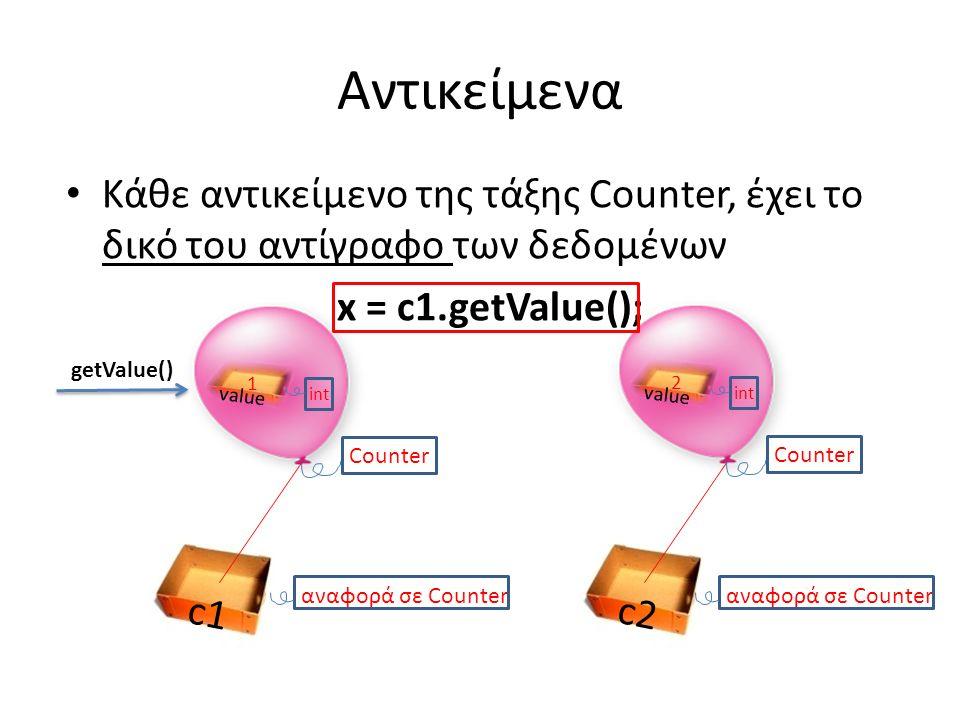 Αντικείμενα Κάθε αντικείμενο της τάξης Counter, έχει το δικό του αντίγραφο των δεδομένων x = c1.getValue(); c2 αναφορά σε Counter Counter c1 αναφορά σε Counter value int 1 Counter value int 2 getValue()