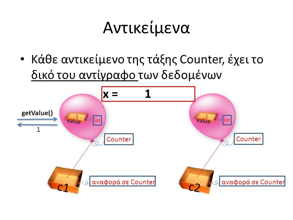 Αντικείμενα Κάθε αντικείμενο της τάξης Counter, έχει το δικό του αντίγραφο των δεδομένων x = 1 c2 αναφορά σε Counter Counter c1 αναφορά σε Counter value int 1 Counter value int 2 getValue() 1