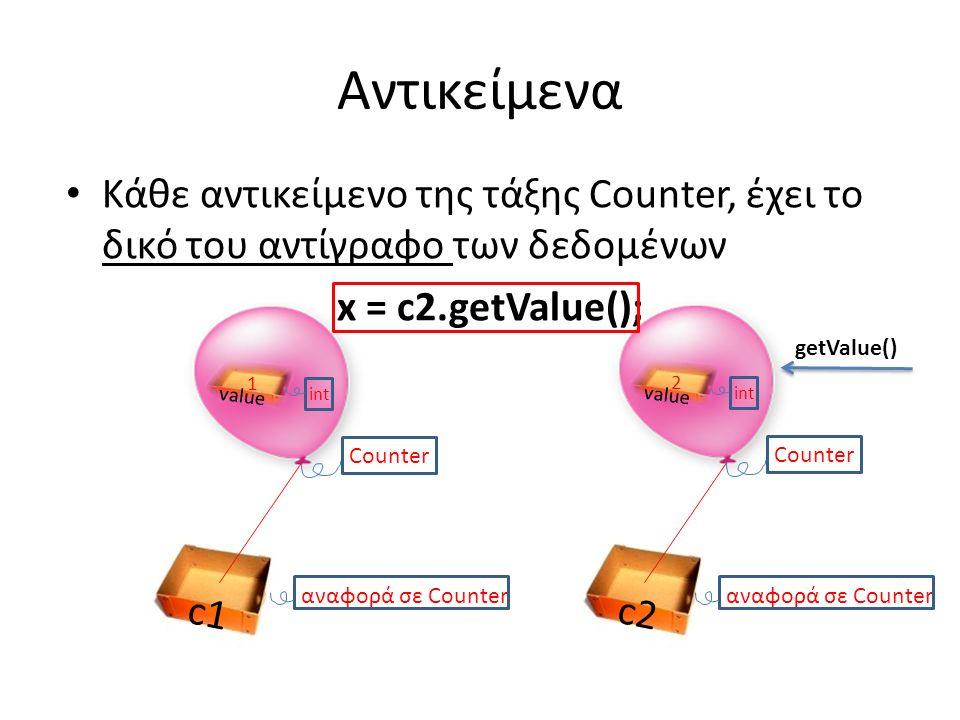 Αντικείμενα Κάθε αντικείμενο της τάξης Counter, έχει το δικό του αντίγραφο των δεδομένων x = c2.getValue(); c2 αναφορά σε Counter Counter c1 αναφορά σε Counter value int 1 Counter value int 2 getValue()