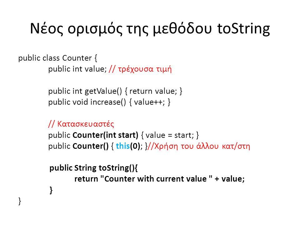 Νέος ορισμός της μεθόδου toString public class Counter { public int value; // τρέχουσα τιμή public int getValue() { return value; } public void increase() { value++; } // Κατασκευαστές public Counter(int start) { value = start; } public Counter() { this(0); }//Χρήση του άλλου κατ/στη public String toString(){ return Counter with current value + value; }