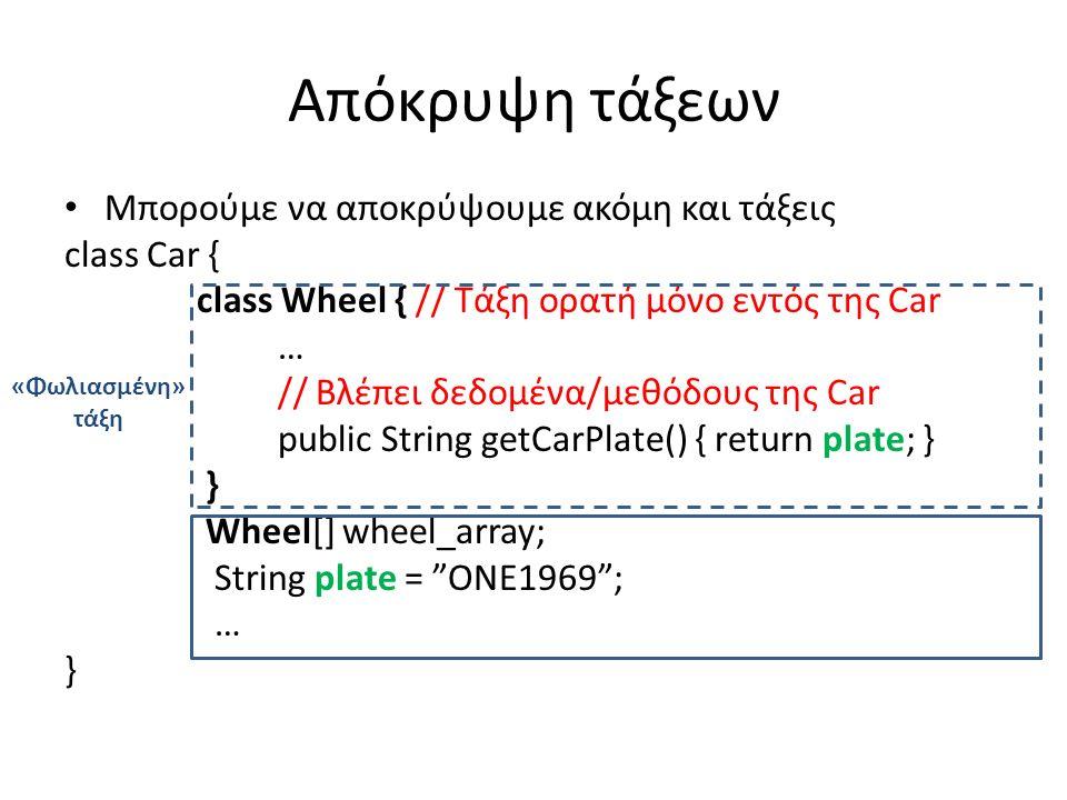 Απόκρυψη τάξεων Μπορούμε να αποκρύψουμε ακόμη και τάξεις class Car { class Wheel { // Τάξη ορατή μόνο εντός της Car … // Βλέπει δεδομένα/μεθόδους της Car public String getCarPlate() { return plate; } } Wheel[] wheel_array; String plate = ONE1969 ; … } «Φωλιασμένη» τάξη