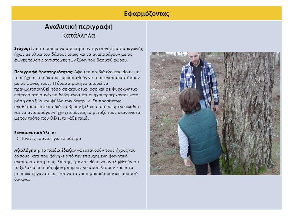 Εφαρμόζοντας Αναλυτική περιγραφή Κατάλληλα Στόχος είναι τα παιδιά να αποκτήσουν την ικανότητα παραγωγής ήχων με υλικά του δάσους όπως και να αναπαράγο