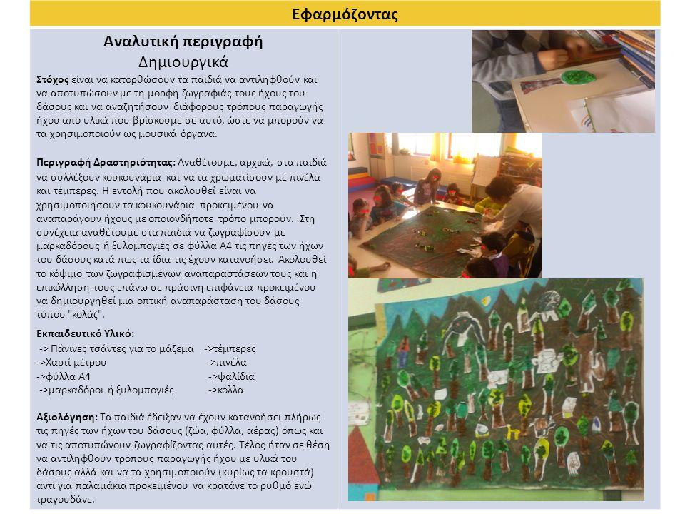 Εφαρμόζοντας Αναλυτική περιγραφή Δημιουργικά Στόχος είναι να κατορθώσουν τα παιδιά να αντιληφθούν και να αποτυπώσουν με τη μορφή ζωγραφιάς τους ήχους