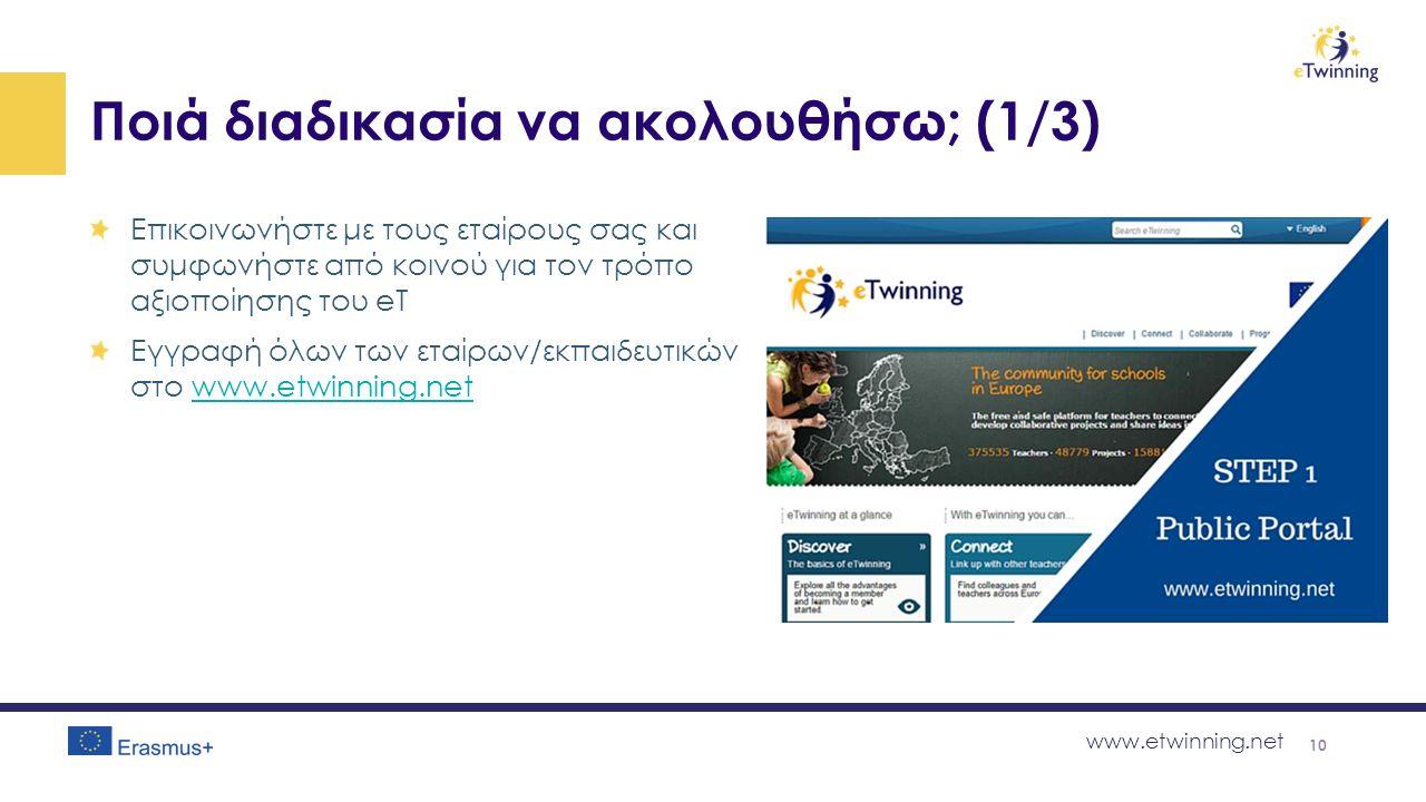 www.etwinning.net Ποιά διαδικασία να ακολουθήσω; (1/3) Επικοινωνήστε με τους εταίρους σας και συμφωνήστε από κοινού για τον τρόπο αξιοποίησης του eT Eγγραφή όλων των εταίρων/εκπαιδευτικών στο www.etwinning.netwww.etwinning.net 10
