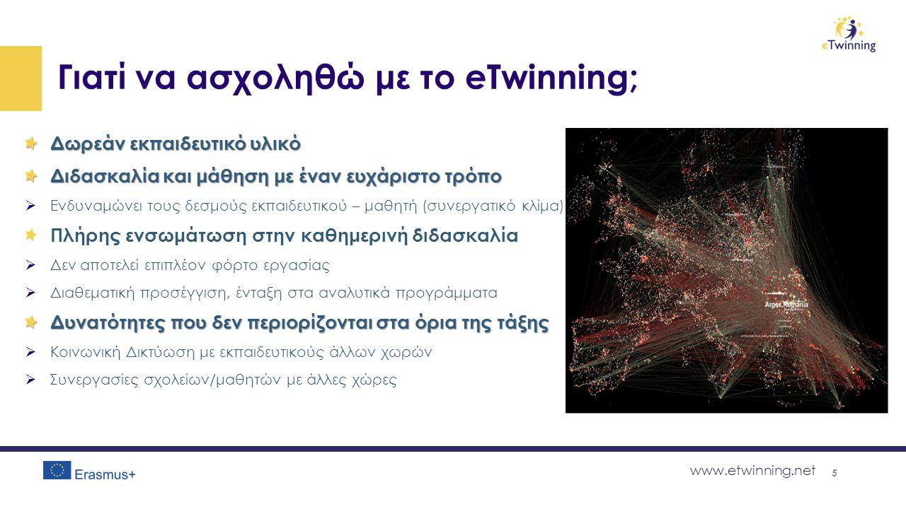 www.etwinning.net Γιατί να ασχοληθώ με το eTwinning; Δωρεάν εκπαιδευτικό υλικό Διδασκαλία και μάθηση με έναν ευχάριστο τρόπο  Ενδυναμώνει τους δεσμούς εκπαιδευτικού – μαθητή (συνεργατικό κλίμα) Πλήρης ενσωμάτωση στην καθημερινή διδασκαλία  Δεν αποτελεί επιπλέον φόρτο εργασίας  Διαθεματική προσέγγιση, ένταξη στα αναλυτικά προγράμματα Δυνατότητες που δεν περιορίζονται στα όρια της τάξης  Κοινωνική Δικτύωση με εκπαιδευτικούς άλλων χωρών  Συνεργασίες σχολείων/μαθητών με άλλες χώρες 5