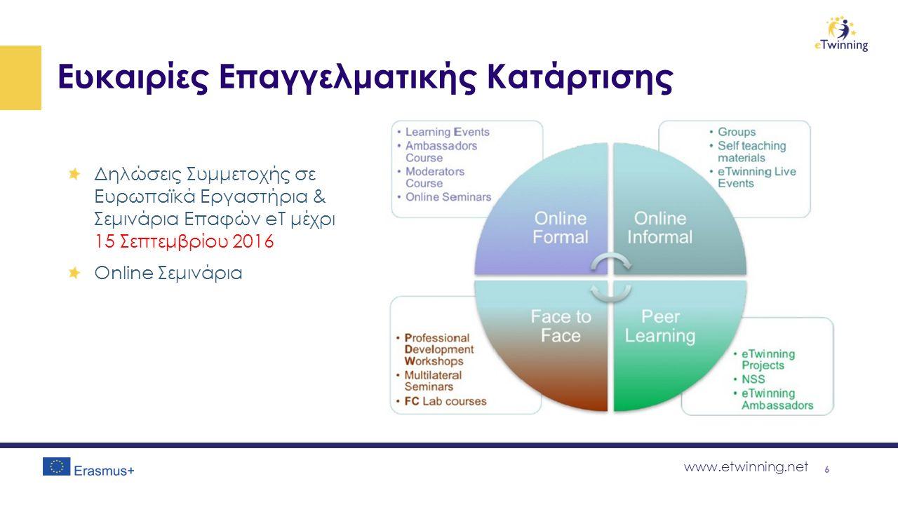 www.etwinning.net Ευκαιρίες Επαγγελματικής Κατάρτισης Δηλώσεις Συμμετοχής σε Ευρωπαϊκά Εργαστήρια & Σεμινάρια Επαφών eT μέχρι 15 Σεπτεμβρίου 2016 Online Σεμινάρια 6