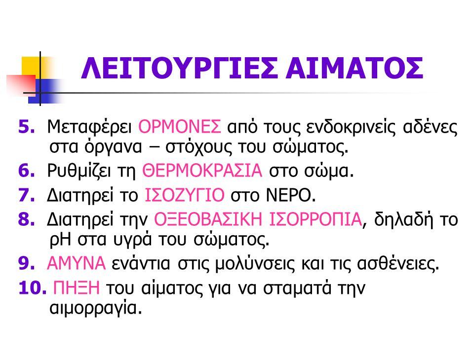 ΛΕΙΤΟΥΡΓΙΕΣ ΑΙΜΑΤΟΣ 5.