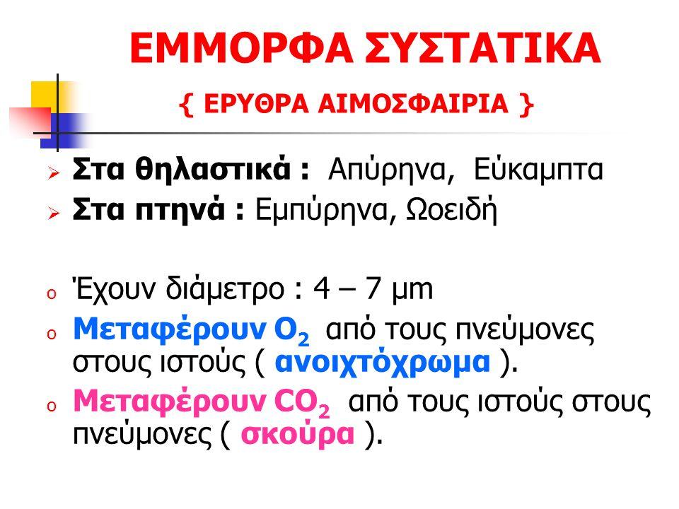ΕΜΜΟΡΦΑ ΣΥΣΤΑΤΙΚΑ { ΕΡΥΘΡΑ ΑΙΜΟΣΦΑΙΡΙΑ }  Στα θηλαστικά : Απύρηνα, Εύκαμπτα  Στα πτηνά : Εμπύρηνα, Ωοειδή o Έχουν διάμετρο : 4 – 7 μm o Μεταφέρουν Ο 2 από τους πνεύμονες στους ιστούς ( ανοιχτόχρωμα ).