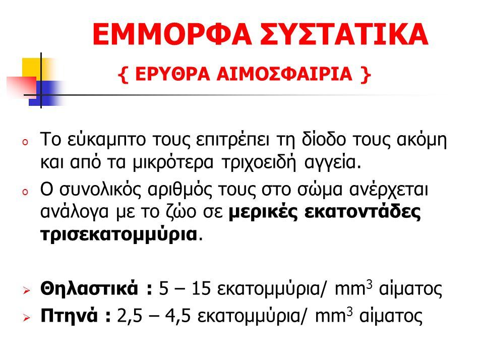 ΕΜΜΟΡΦΑ ΣΥΣΤΑΤΙΚΑ { ΕΡΥΘΡΑ ΑΙΜΟΣΦΑΙΡΙΑ }  Ο αριθμός των ερυθρών αιμοσφαιρίων ανά mm 3 αίματος επηρεάζεται από : Το είδος του ζώου, τη φυλή, την ηλικία, την εργασία, τη διατροφή, τη γαλακτοπαραγωγή, την κυοφορία, το στάδιο του οιστρικού κύκλου, τον ερεθισμό ή ανησυχία του ζώου ( αδρεναλίνη ), το χρονικό διάστημα της ημέρας, τον όγκο του αίματος, τη θερμοκρασία του περιβάλλοντος, το υψόμετρο.