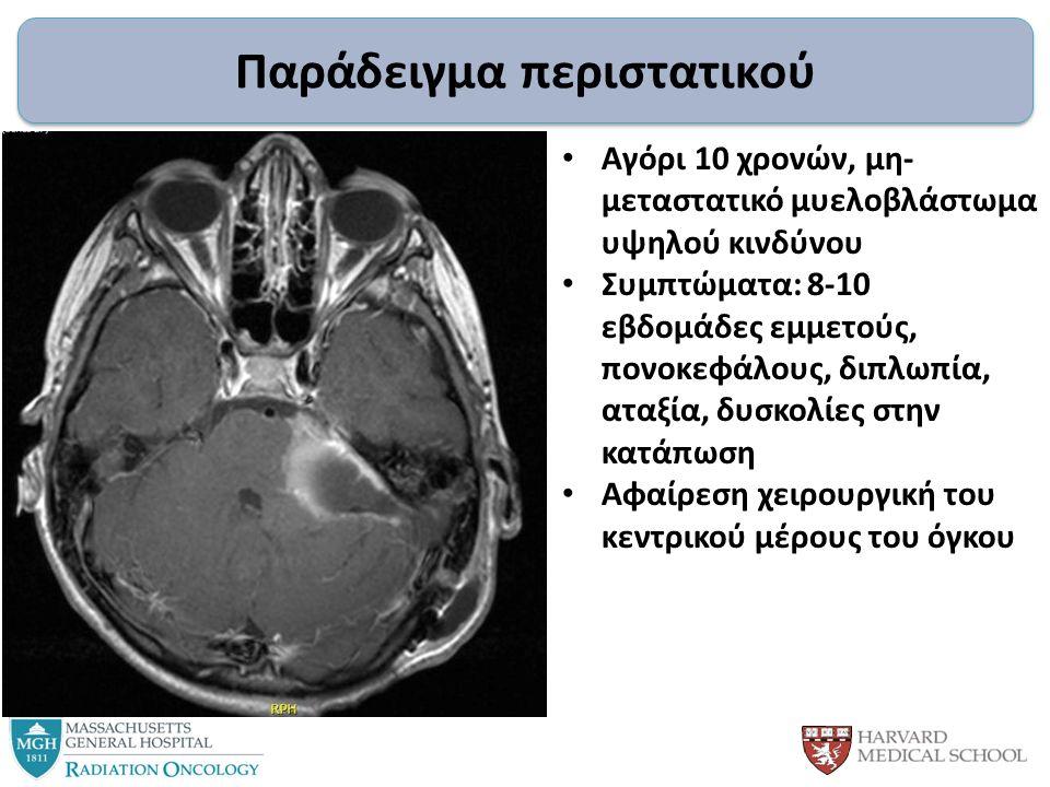 Παράδειγμα περιστατικού Αγόρι 10 χρονών, μη- μεταστατικό μυελοβλάστωμα υψηλού κινδύνου Συμπτώματα: 8-10 εβδομάδες εμμετούς, πονοκεφάλους, διπλωπία, αταξία, δυσκολίες στην κατάπωση Αφαίρεση χειρουργική του κεντρικού μέρους του όγκου